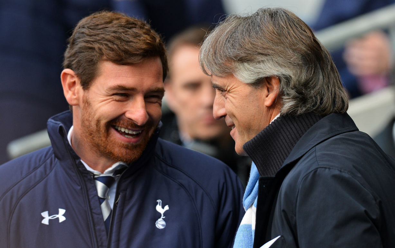 Tottenham-Hotspur-portugueses-director-Andre-Villas-Boas-habla-con-el-italiano-del-Manchester-City-Roberto-Mancini